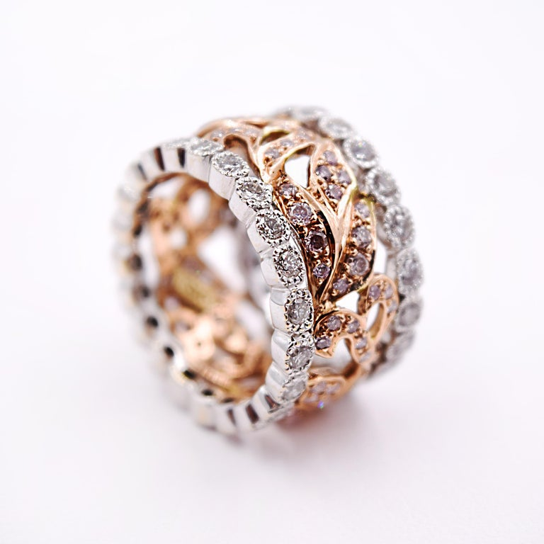 Contemporary Sethi Couture 250 Carat Vine Band In 18 Karat Rose And White Gold Fashion Ring
