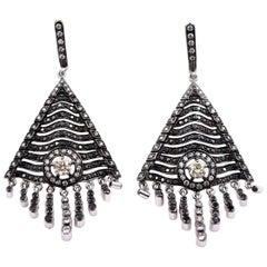 Sethi Couture 3.44 Carat Black and White Diamond Tassel Earrings 18 Karat Gold