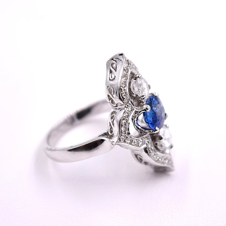 Contemporary Sethi Couture Blue Sapphire And White Diamond Cocktail Ring In 18 Karat Gold For Sale