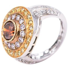 Sethi Couture Multicolored Diamond Cocktail Ring in 18 Karat White Gold