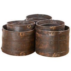 Sets of 3 Studded Iron Rice Measuring Pots, 20th Century