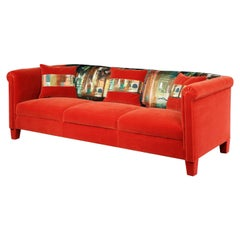 Settee, 1950, French, 3-Seat, Upholstered, Red, Velvet, John Piper