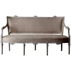 Settee Bench Gustavian Swedish 19th Century White, Sweden