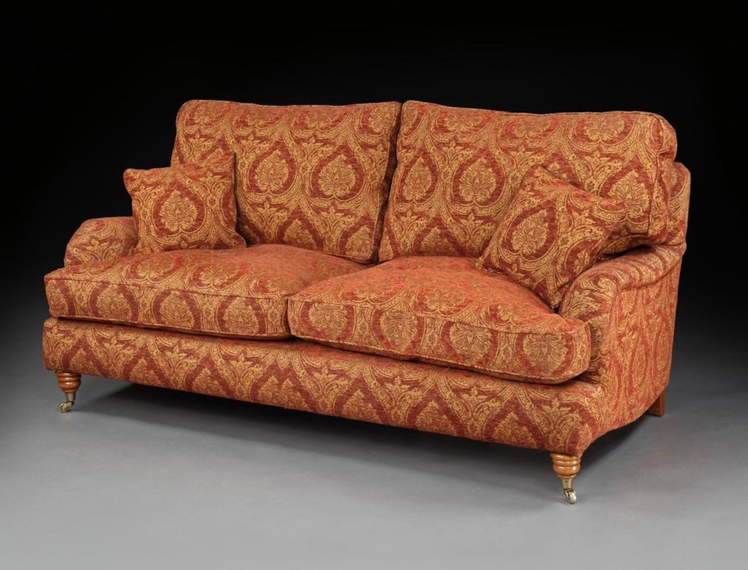 Settee Sofa 3-Seat Howard Parker & Farr Red-Wine Gold Mulberry Paisley