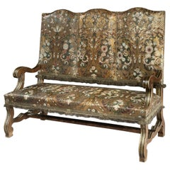 Settee Sofa 3-Seat Upholstered Spanish Leather Polychrome Gilded Walnut