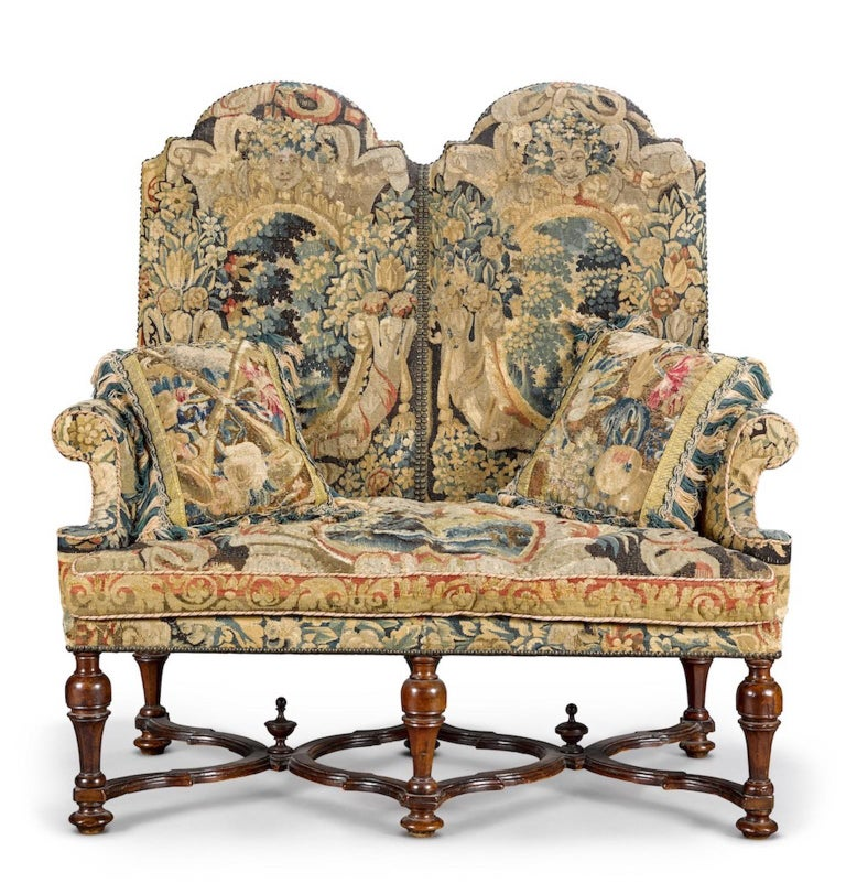 Baroque Settee, Sofa, Double-Chair Back, Brussels Tapestry, X-Stretcher, Walnut, 1700 For Sale