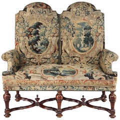 Settee, Sofa, Double-Chair Back, Brussels Tapestry, X-Stretcher, Walnut, 1700