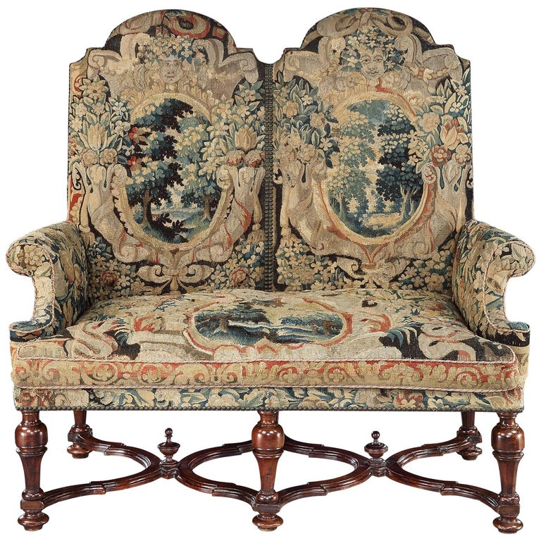 Settee, Sofa, Double-Chair Back, Brussels Tapestry, X-Stretcher, Walnut, 1700 For Sale