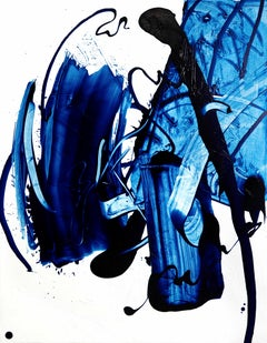 Beginning of the stop 8, Abstract Art Contemporary Oil Painting Canvas Blue