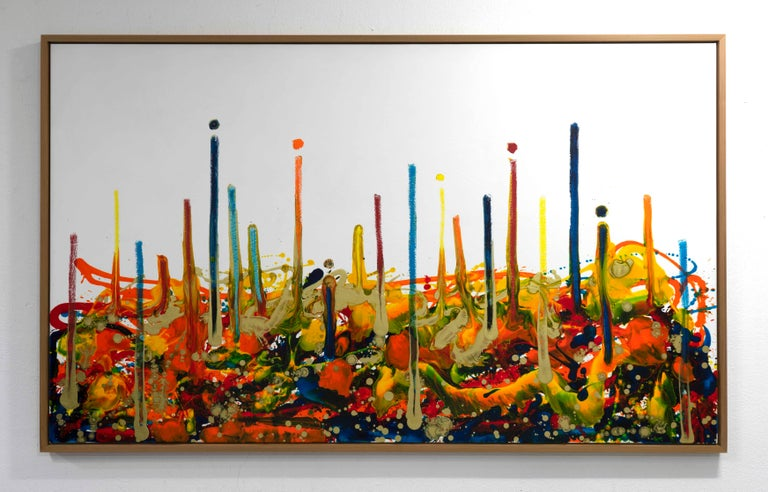 Cross-section of the moment 1, Contemporary Abstract Oil Painting Canvas Yellow For Sale 7