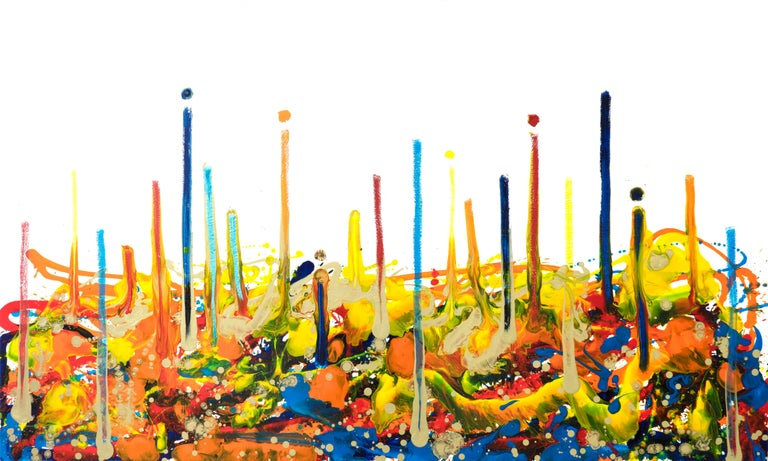 Cross-section of the moment 1, Contemporary Abstract Oil Painting Canvas Yellow For Sale 8