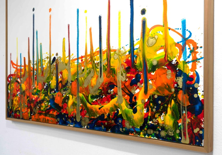 Cross-section of the moment 1, Contemporary Abstract Oil Painting Canvas Yellow For Sale 4