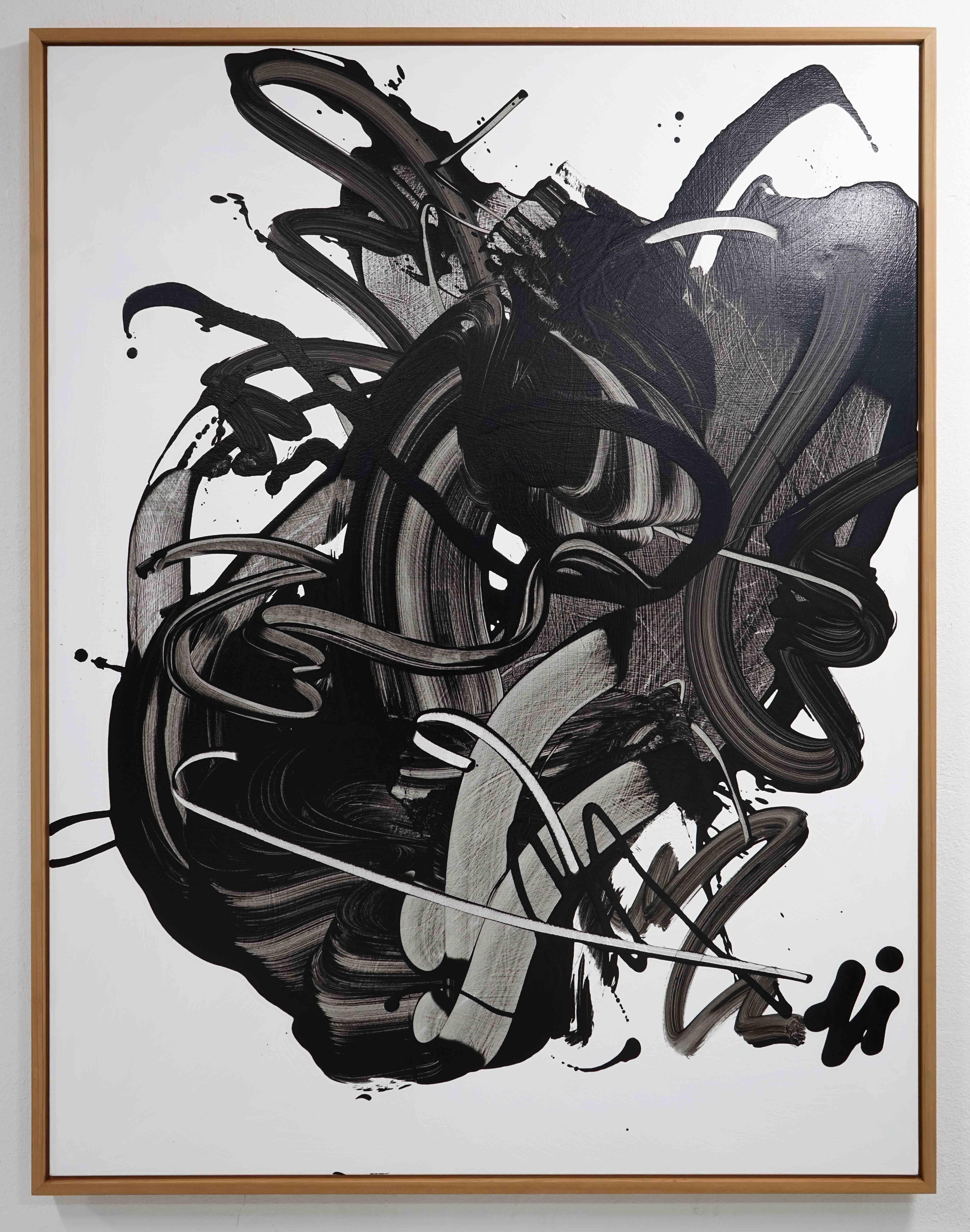 Rue of the Opposite 25, Abstract Expressionist Contemporary Painting Black Oil