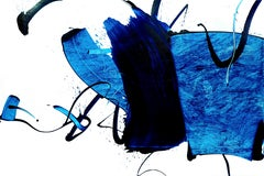 Rule of the opposite 11, Contemporary Abstract Expressionist Oil Painting Blue