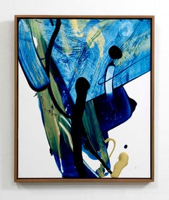 Rule of the Opposite 62 Abstract Art Expressionist Blue Oil Painting Canvas Gold