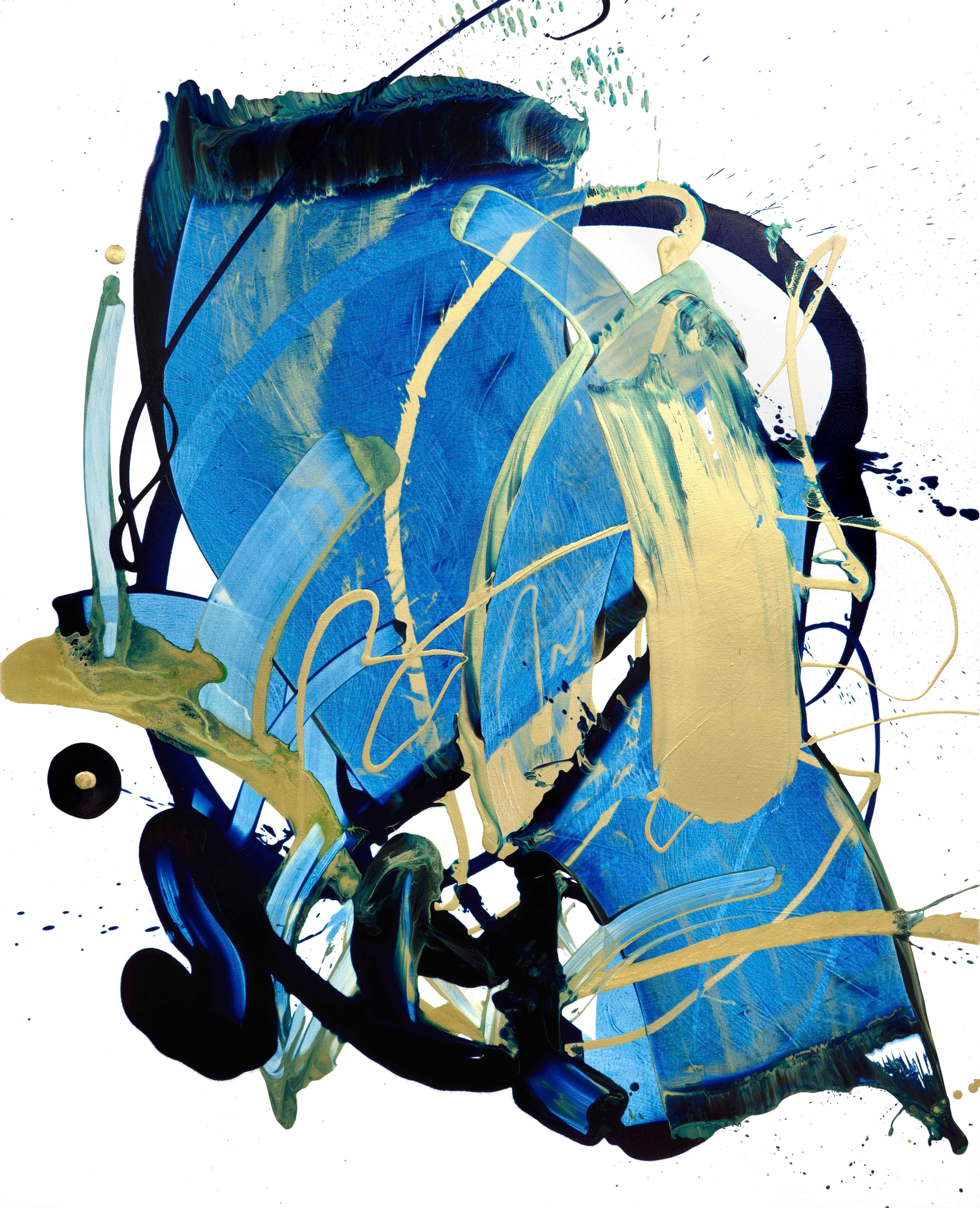 The World & I 24, Contemporary Abstract Art Oil Painting Canvas Blue Gold Black
