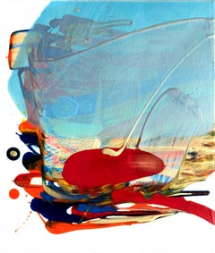 The World & I 12, Contemporary Abstract Expressionist Oil Painting CanvasRed