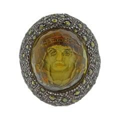 Sevan Bicakci Green Diamond Crystal Gold Silver Ring