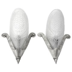 SEVB French Art Deco Pair of Wall Sconces, 1920s Lights