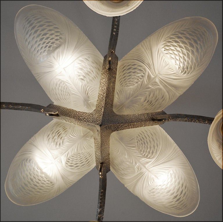Early 20th Century Sevb French Art Deco Pine-cone Chandelier, 1920s, wall sconces available For Sale