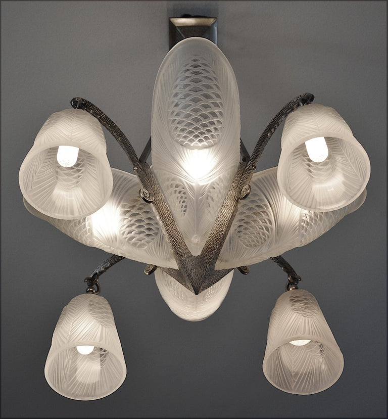 Sevb French Art Deco Pine-cone Chandelier, 1920s, wall sconces available For Sale 1