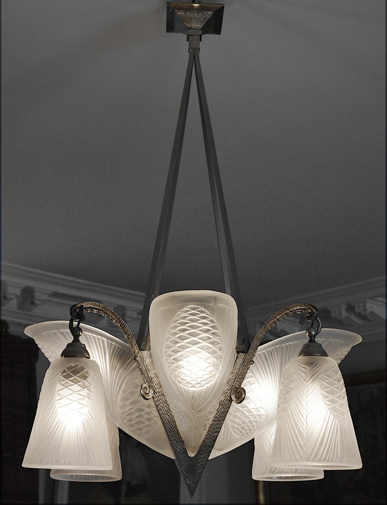 Sevb French Art Deco Pine-Cone Chandelier, 1920s For Sale 2