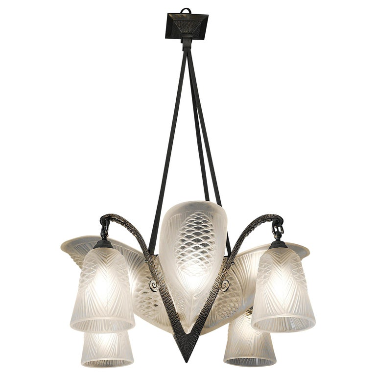 Sevb French Art Deco Pine-Cone Chandelier, 1920s For Sale