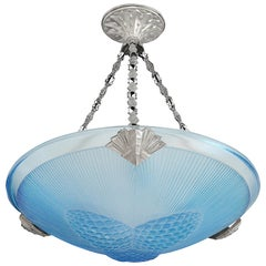 SEVB Wide French Art Deco Blue Pine Cone Pendant Chandelier, Late 1920s