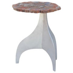 'Seve' Petrified Wood and Aluminium Side Table by Design Frères