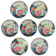 Seven 18th Century Chinese Export Tobacco Leaf Plates