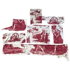 Seven 18th Century French Oberkampf Toile De Jouy Fabric Fragments