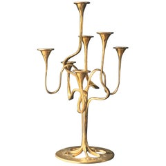 Seven-Arm Brass Candlestick or Candelabra of Organic Form
