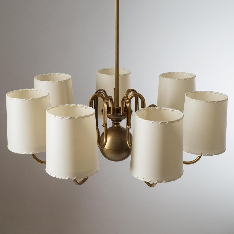 Brass Chandelier by ASEA, Sweden, 1930s For Sale 2