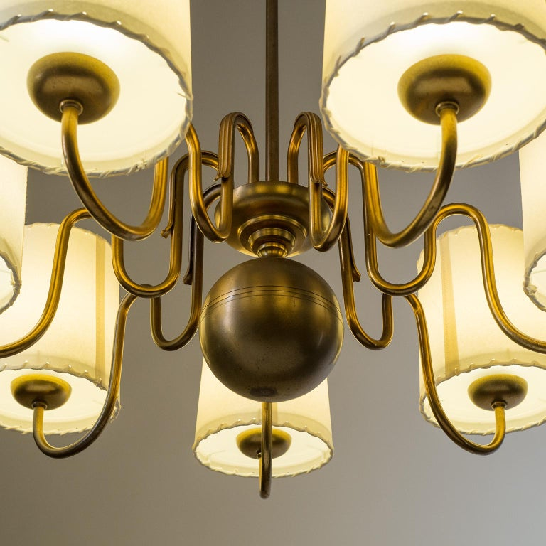 Brass Chandelier by ASEA, Sweden, 1930s For Sale 5