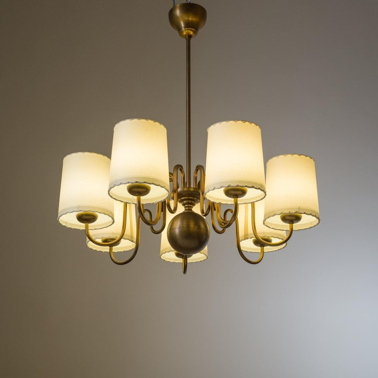 Brass Chandelier by ASEA, Sweden, 1930s For Sale 6