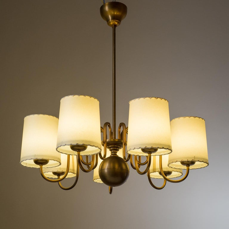 Art Deco Brass Chandelier by ASEA, Sweden, 1930s For Sale