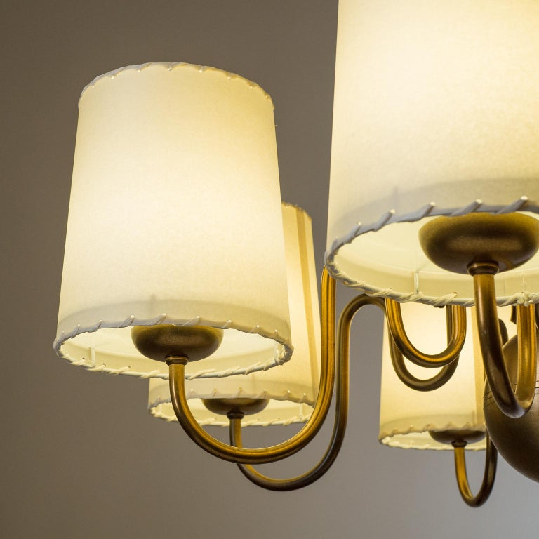Swedish Brass Chandelier by ASEA, Sweden, 1930s For Sale