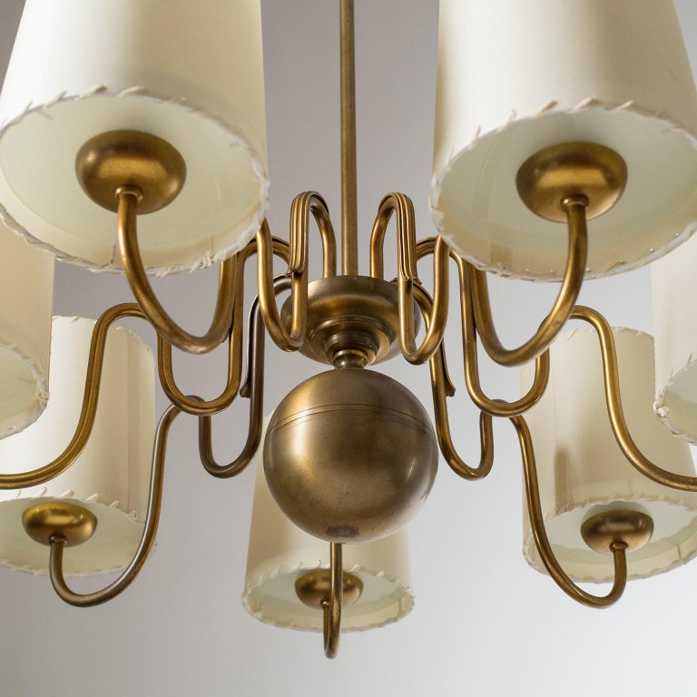 Frosted Brass Chandelier by ASEA, Sweden, 1930s For Sale