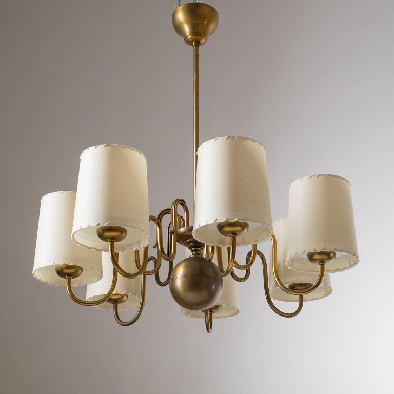 Brass Chandelier by ASEA, Sweden, 1930s In Good Condition For Sale In Vienna, AT
