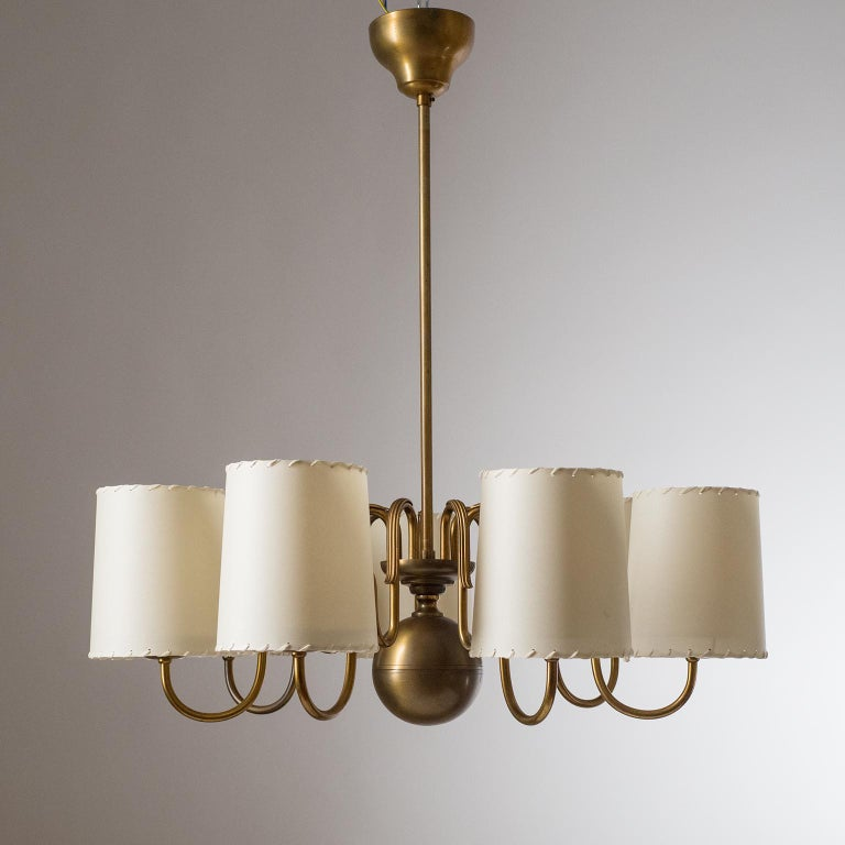 Mid-20th Century Brass Chandelier by ASEA, Sweden, 1930s For Sale