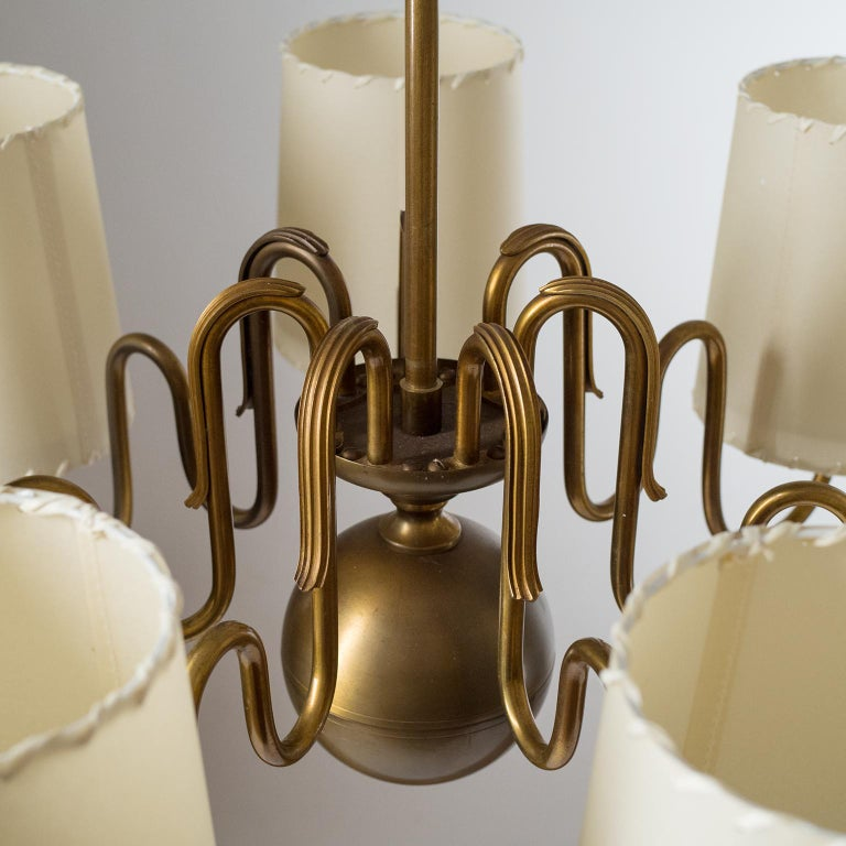 Glass Brass Chandelier by ASEA, Sweden, 1930s For Sale