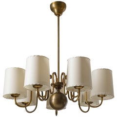 Seven-Arm Brass Chandelier by ASEA, Sweden, 1930s