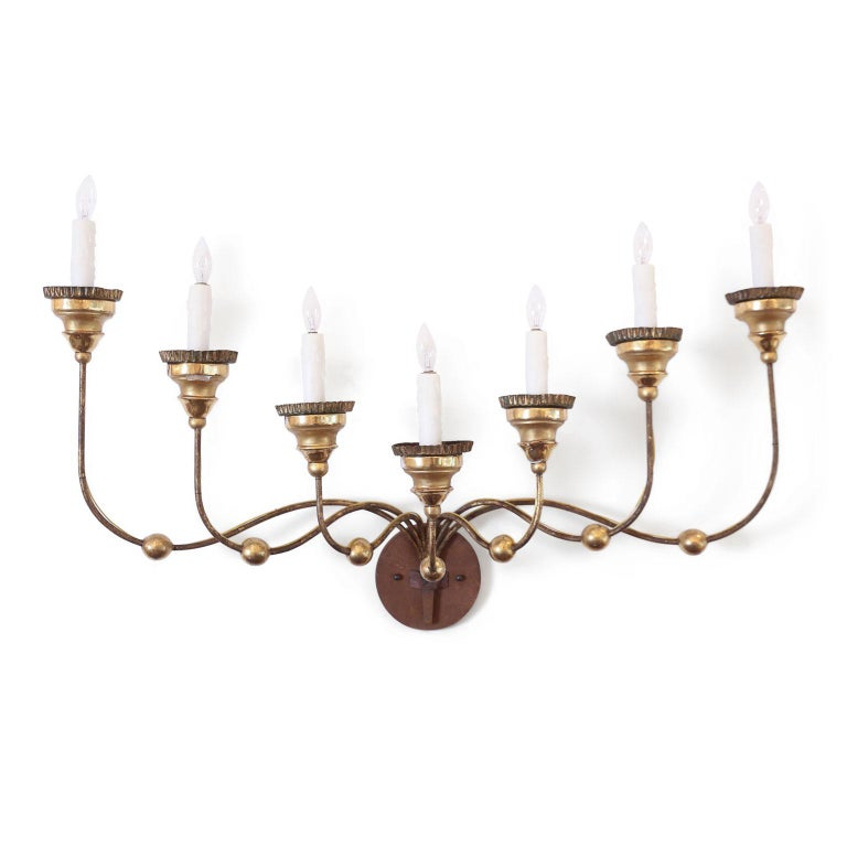 Italian Seven-Arm Gilt-Iron Sconce For Sale