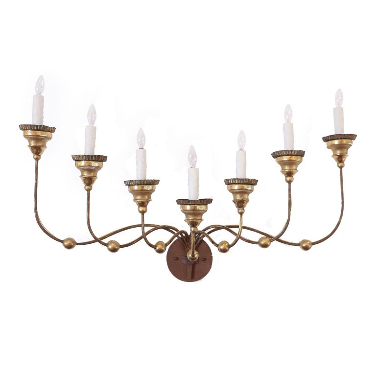 Seven-Arm Gilt-Iron Sconce For Sale