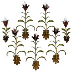 Seven Beautiful Large Floral Midcentury Metal Wall Lights from Italy