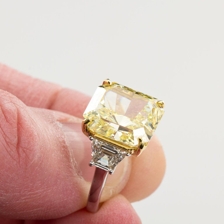7 Carat Fancy Yellow Radiant Cut Diamond Engagement Ring GIA For Sale 7