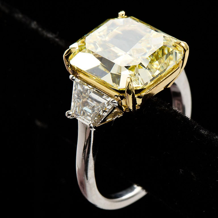 7 Carat Fancy Yellow Radiant Cut Diamond Engagement Ring GIA For Sale 9