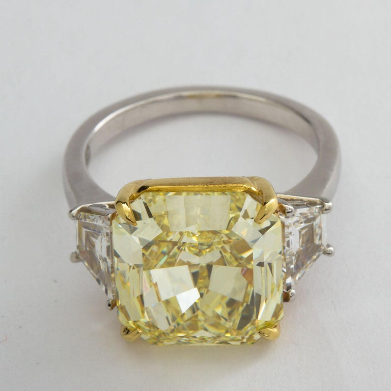 7 Carat Fancy Yellow Radiant Cut Diamond Engagement Ring GIA For Sale 2