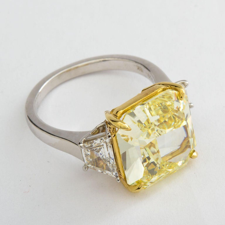 7 Carat Fancy Yellow Radiant Cut Diamond Engagement Ring GIA For Sale 3