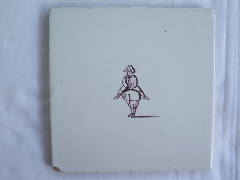 Dutch Colonial Seven Delft Ceramic Manganese Wall Tiles Hand painted Children's Games For Sale